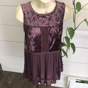 Knox Rose Boho Velvet Top Sz XS